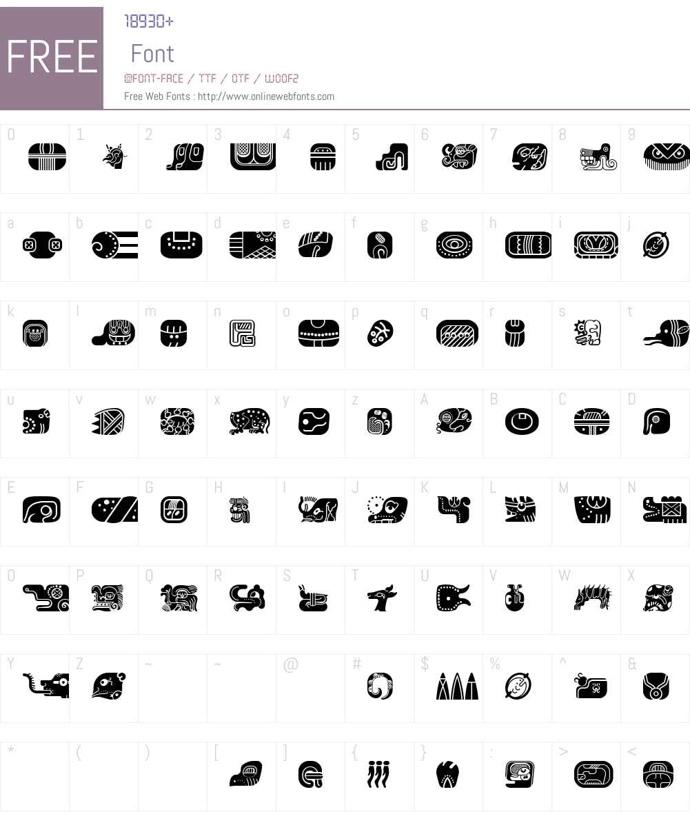 mayan glyphs fill Font Screenshots