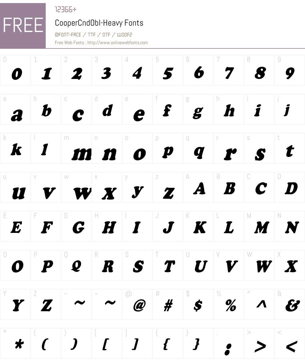 CooperCndObl-Heavy Font Screenshots