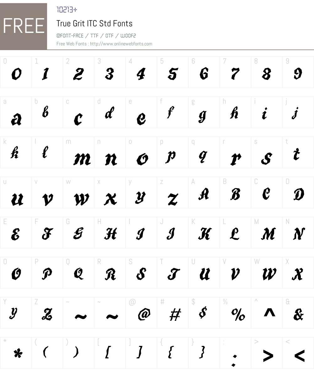 True Grit ITC Std Font Screenshots