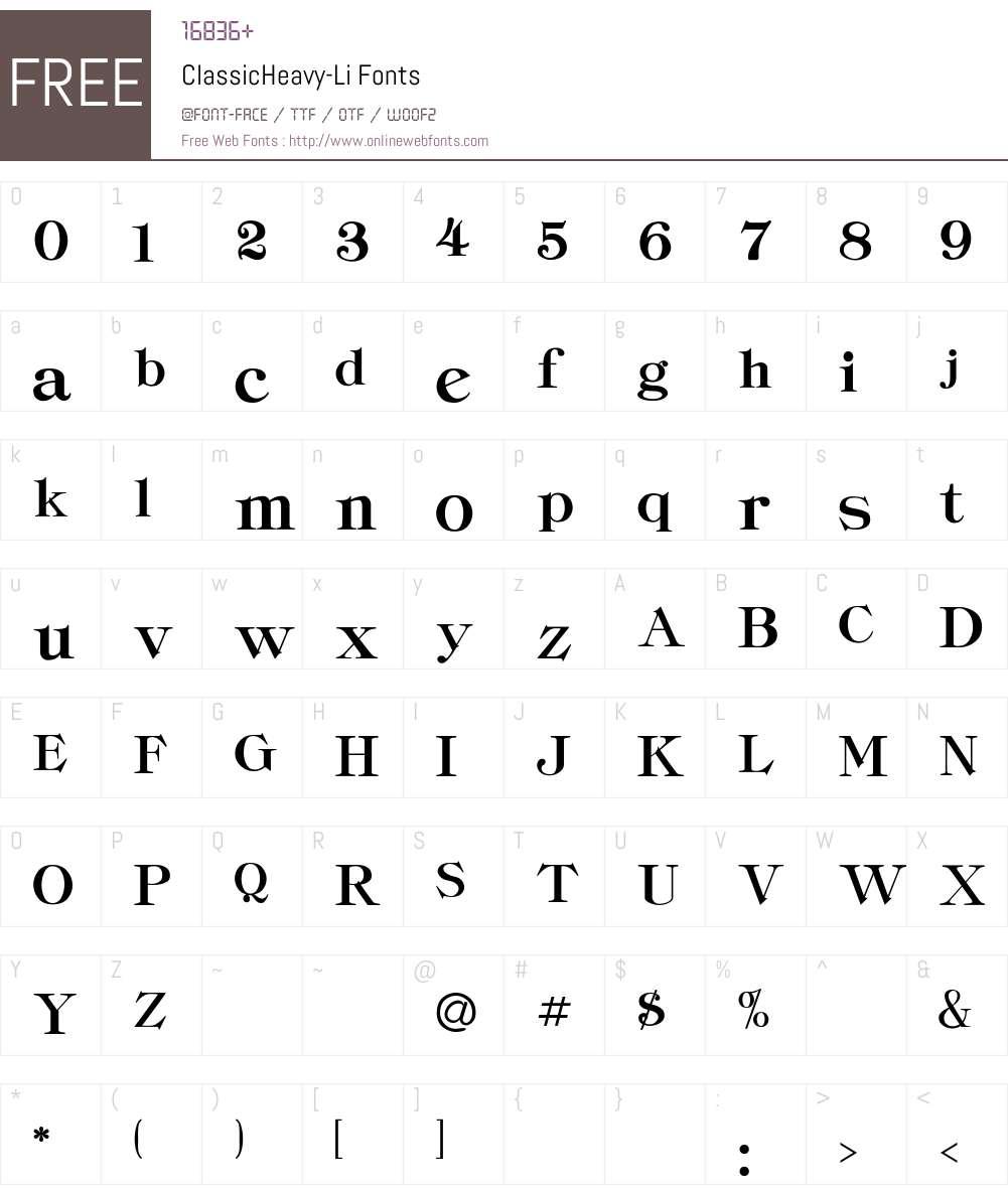 ClassicHeavy-Li Font Screenshots