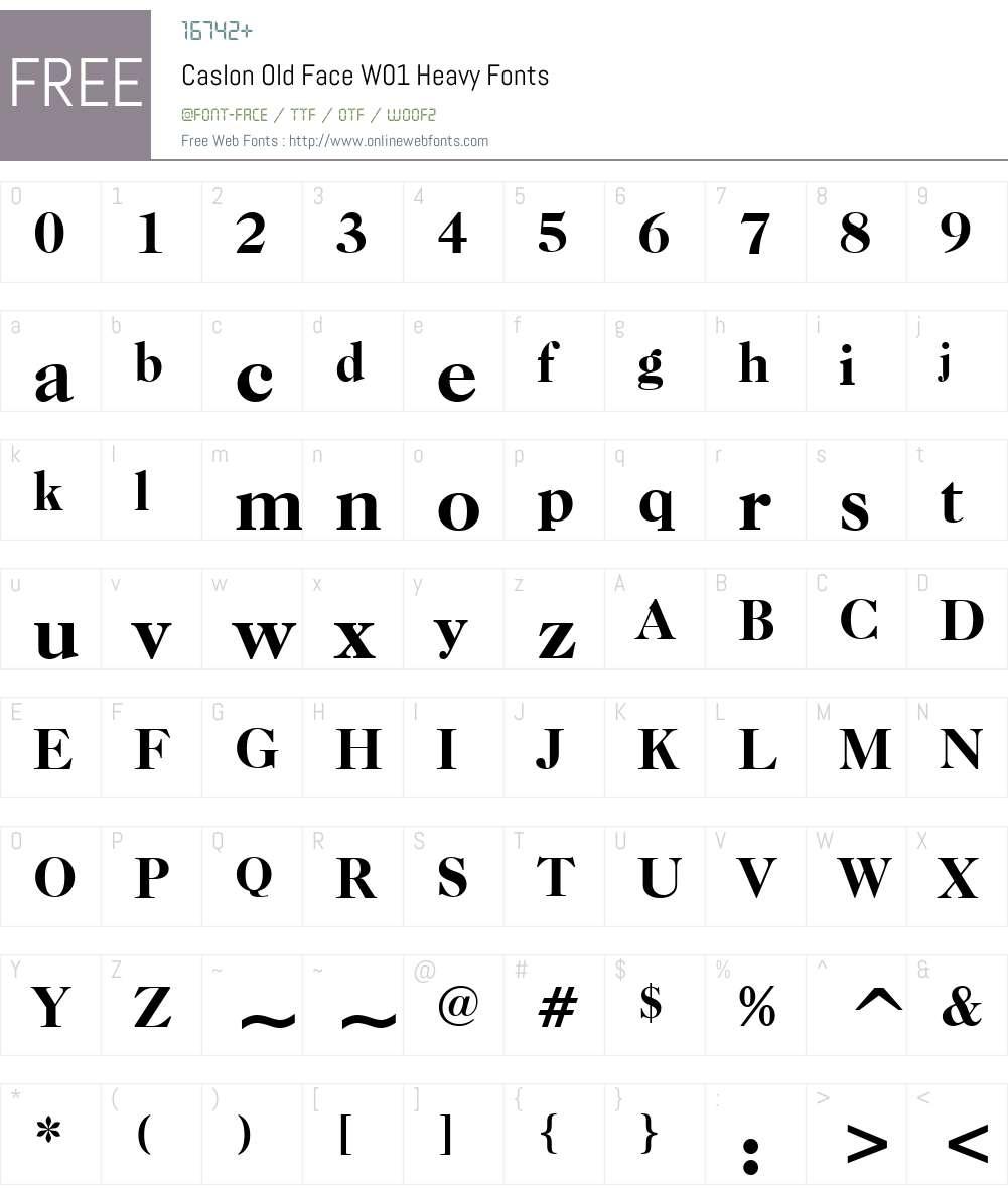CaslonOldFaceW01-Heavy Font Screenshots