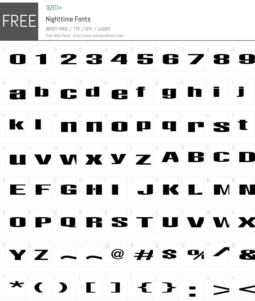 Nighttime Font Screenshots