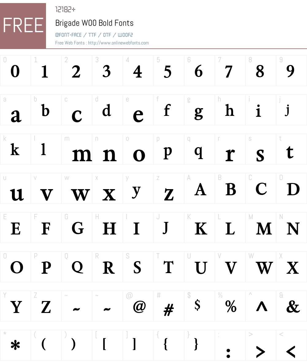 BrigadeW00-Bold Font Screenshots