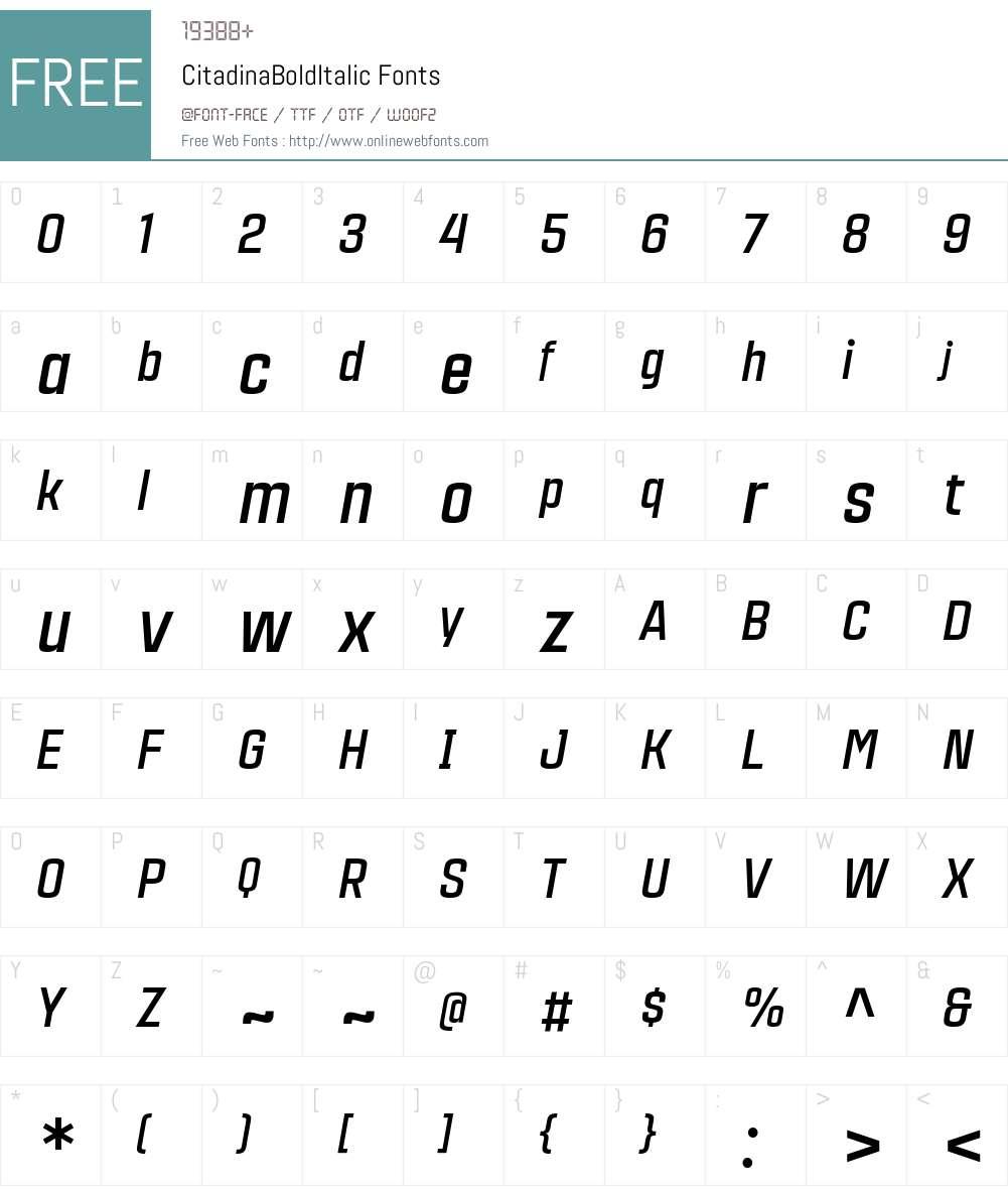 CitadinaBoldItalic Font Screenshots
