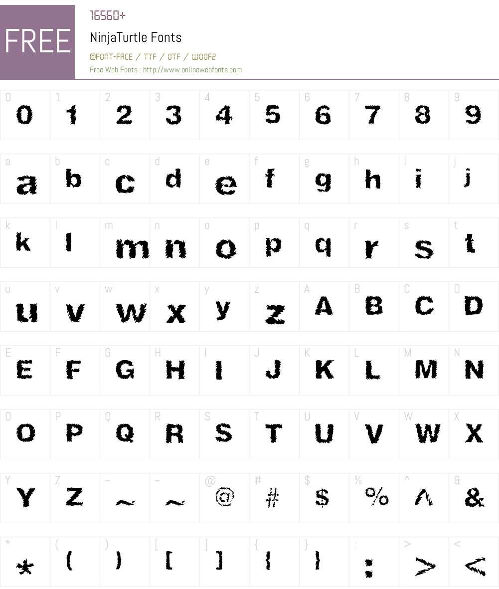 NinjaTurtle Font Screenshots
