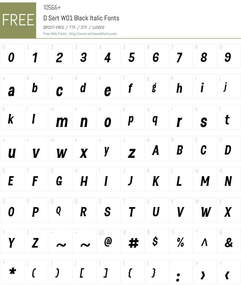 DSertW01-BlackItalic Font Screenshots