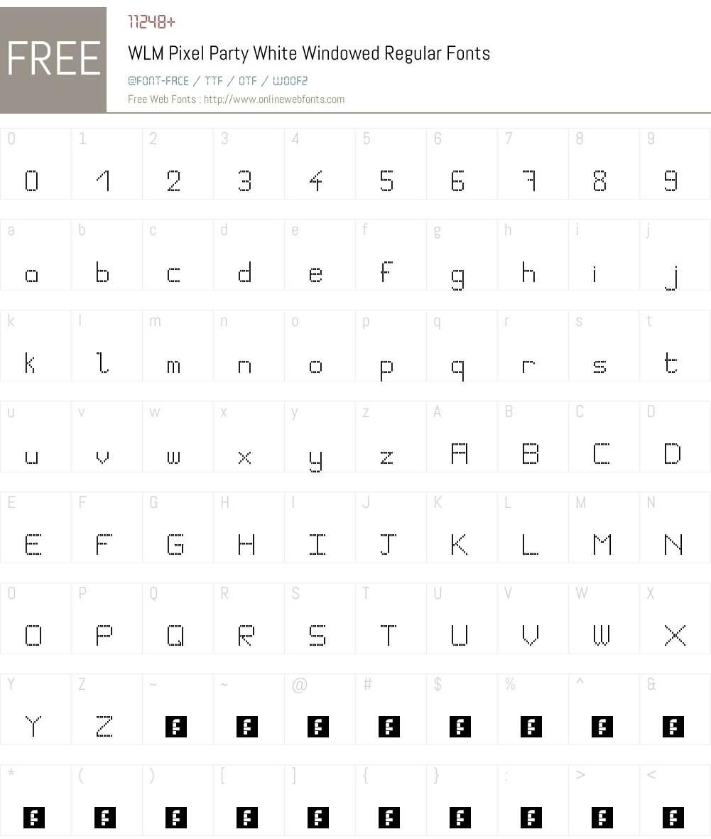 WLM Pixel Party White Windowed Font Screenshots