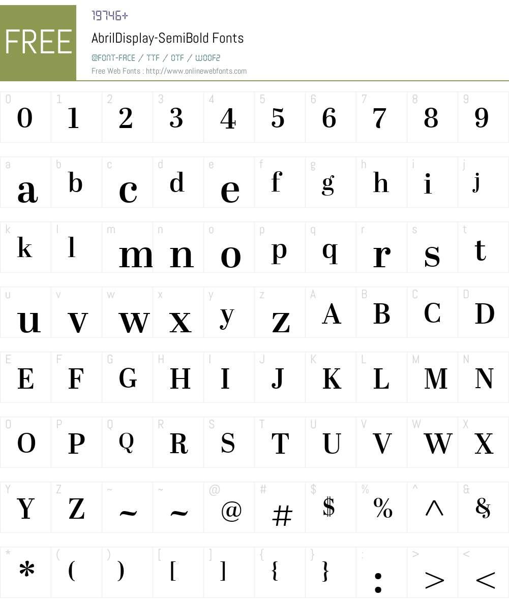 AbrilDisplay-SemiBold Font Screenshots