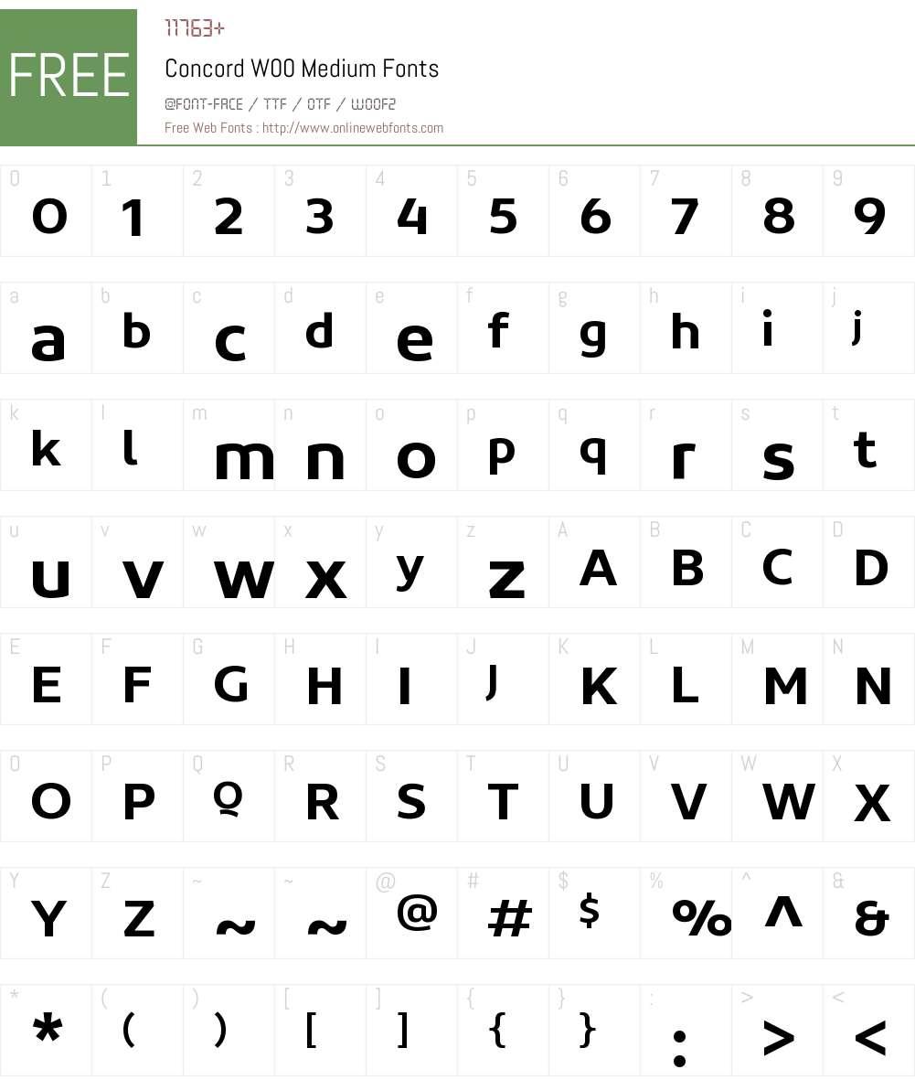 ConcordW00-Medium Font Screenshots