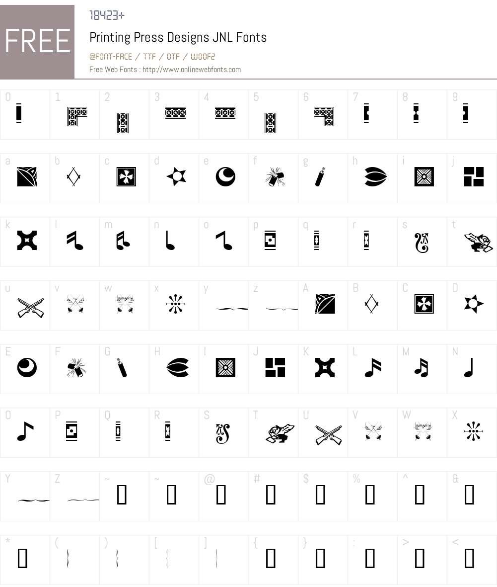 PrintingPressDesignsJNL Font Screenshots