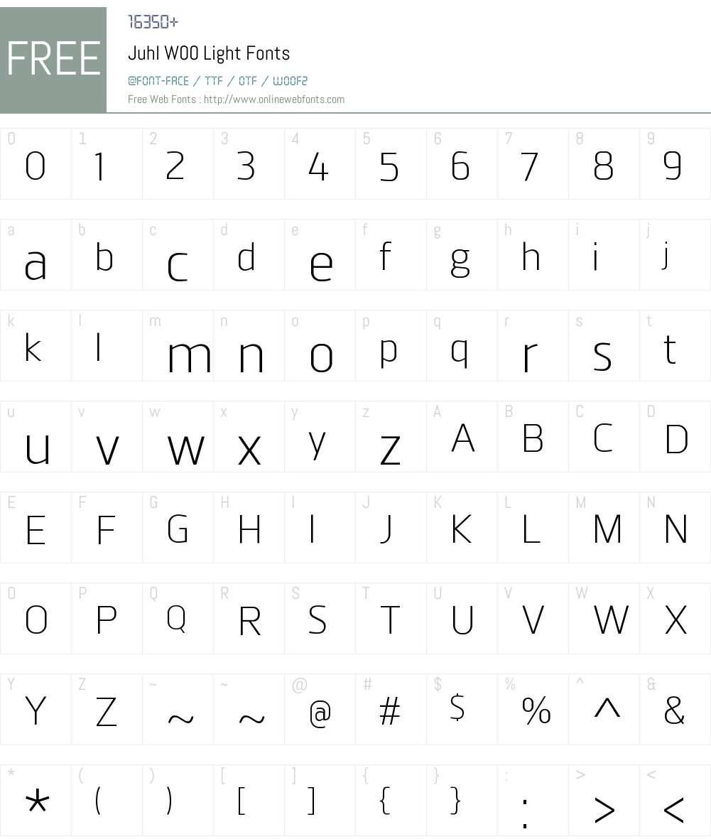 JuhlW00-Light Font Screenshots