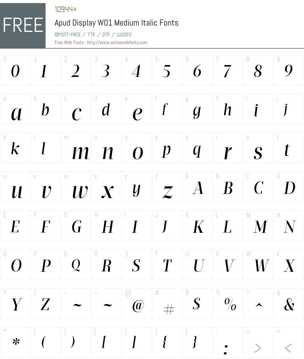 ApudDisplayW01-MediumItalic Font Screenshots