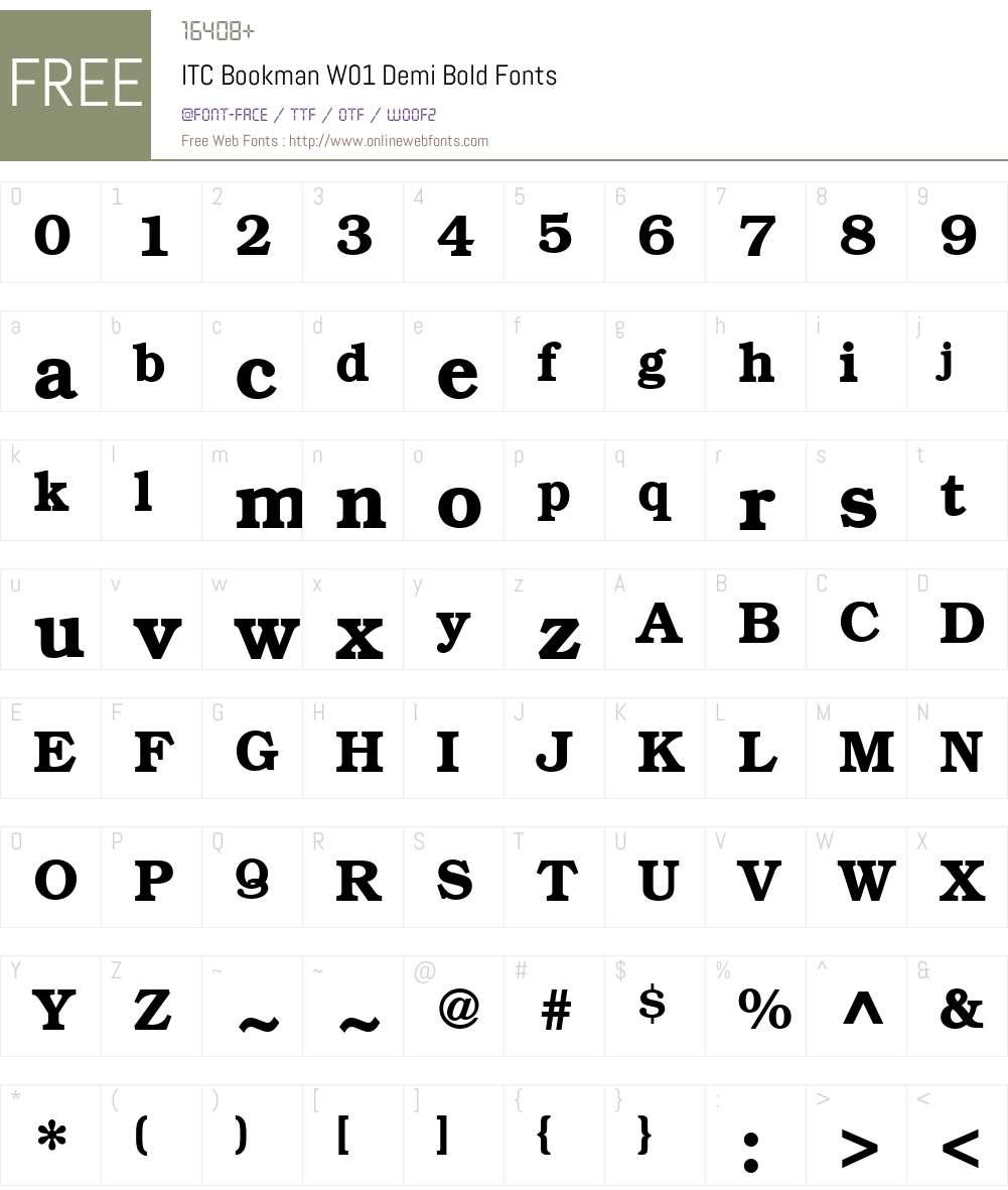 ITCBookmanW01-DemiBold Font Screenshots
