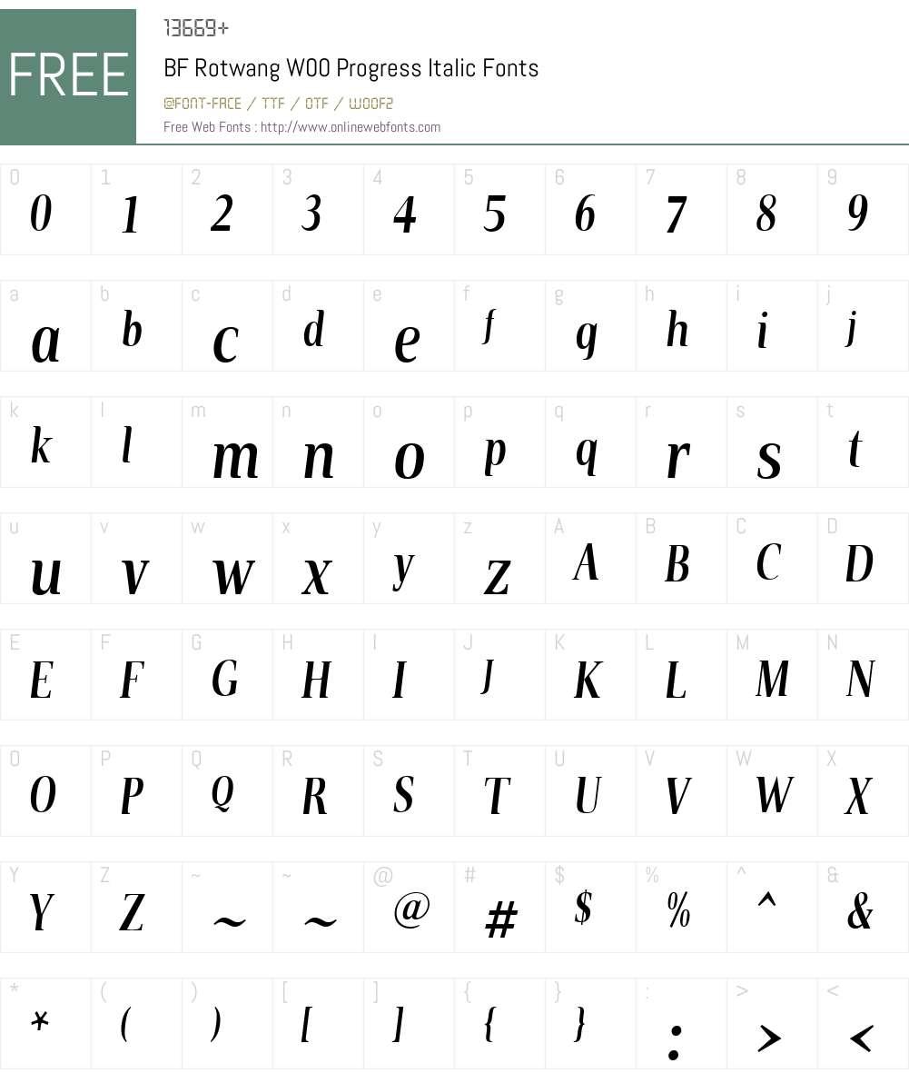 BFRotwangW00-ProgressItalic Font Screenshots