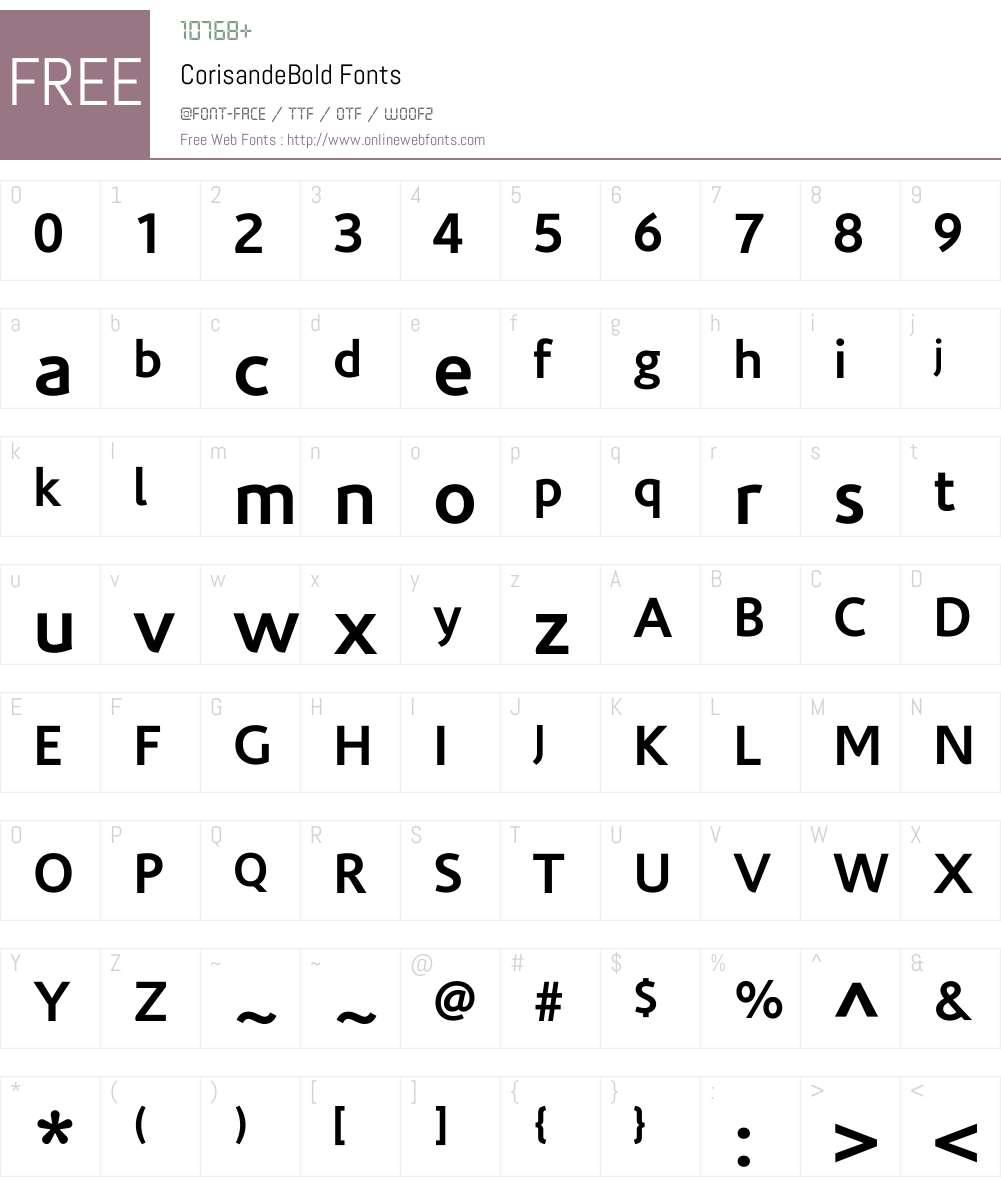 CorisandeBold Font Screenshots