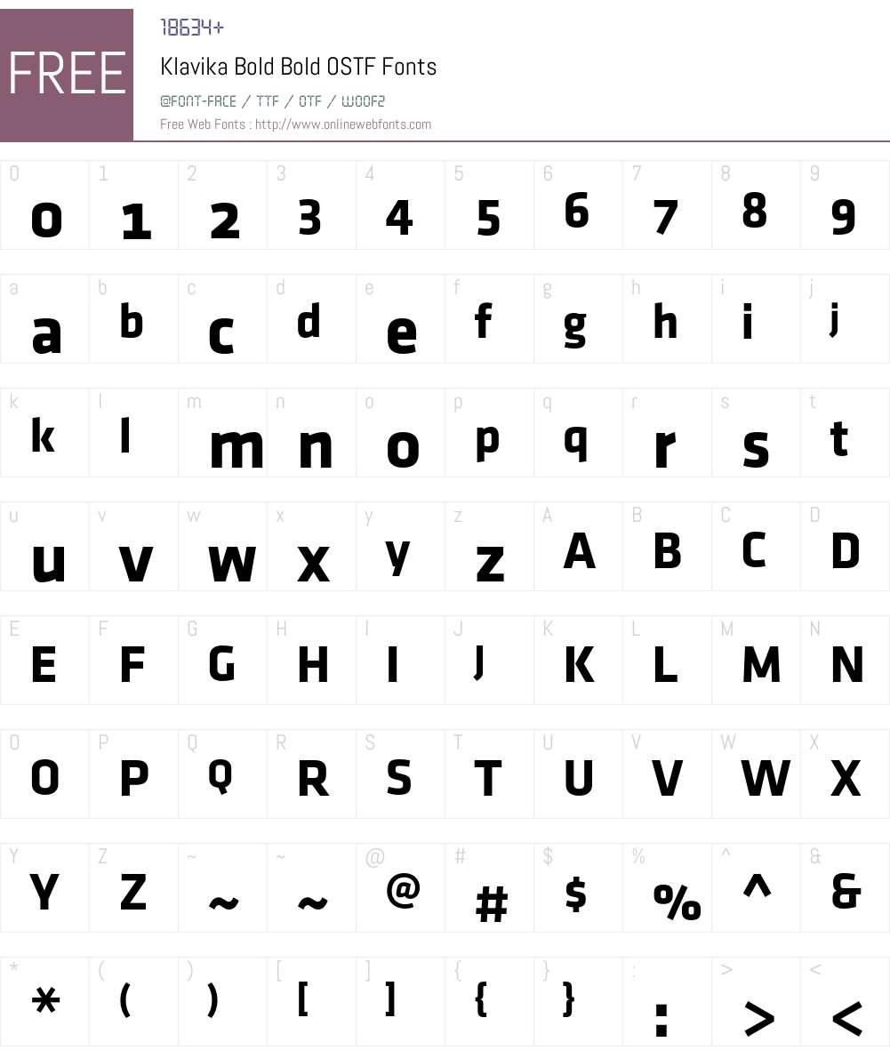 Klavika Bold Font Screenshots