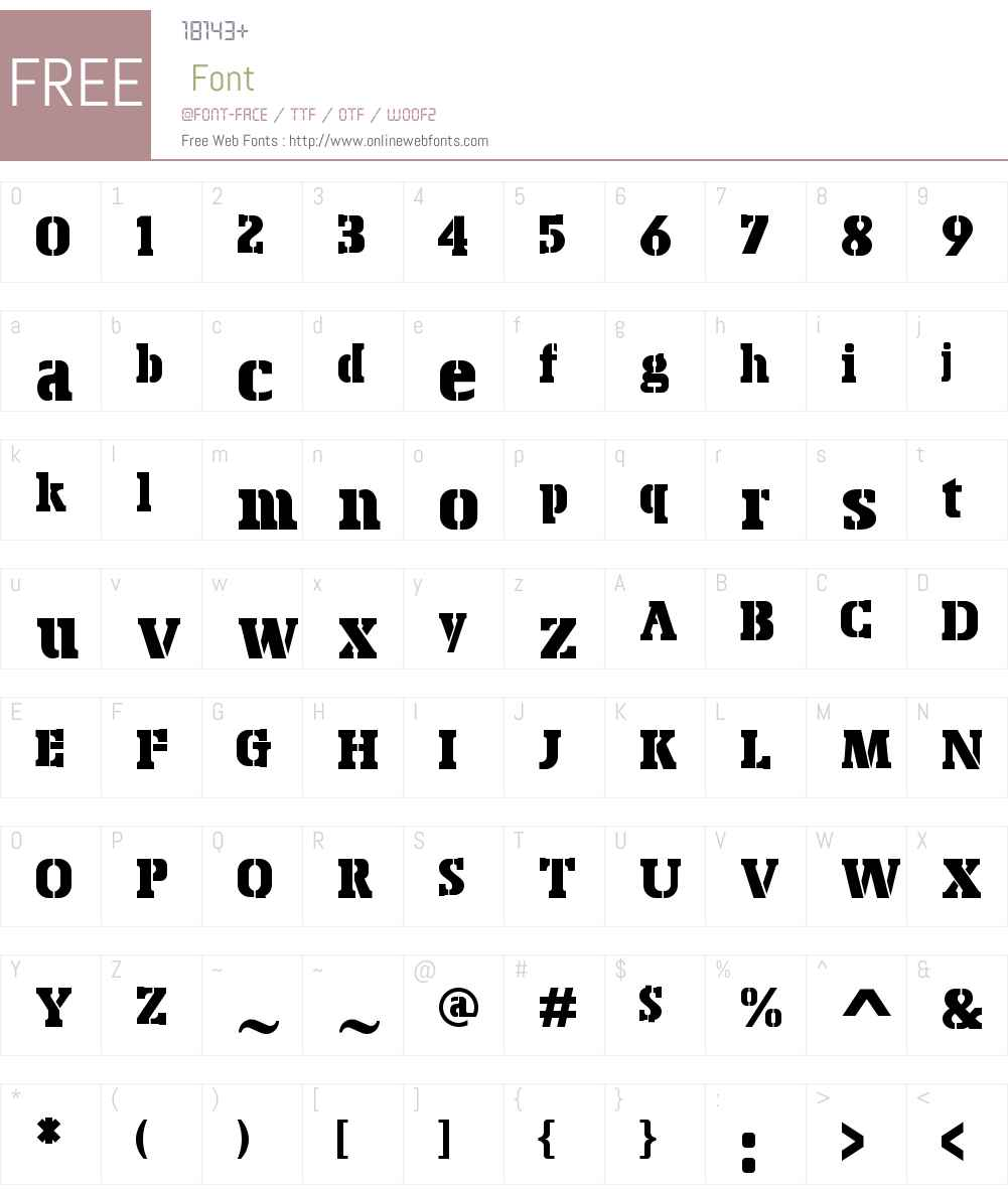 BoskoW00-Stencil Font Screenshots