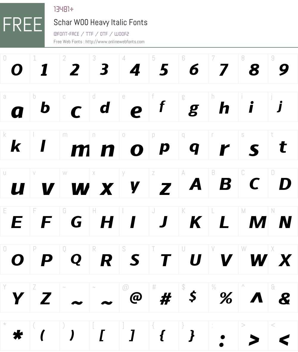 ScharW00-HeavyItalic Font Screenshots