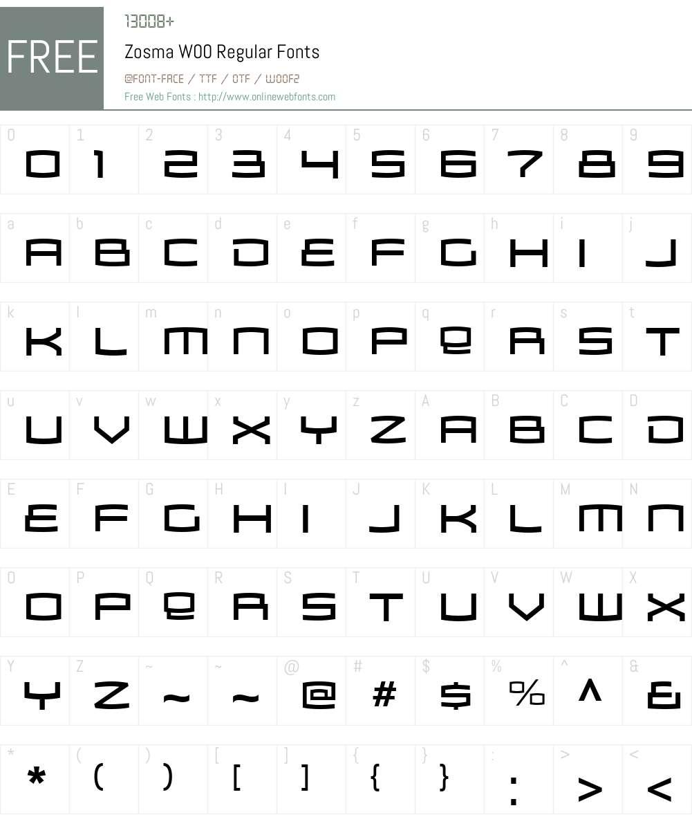 ZosmaW00-Regular Font Screenshots