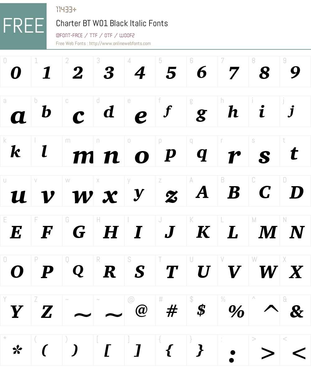 CharterBTW01-BlackItalic Font Screenshots
