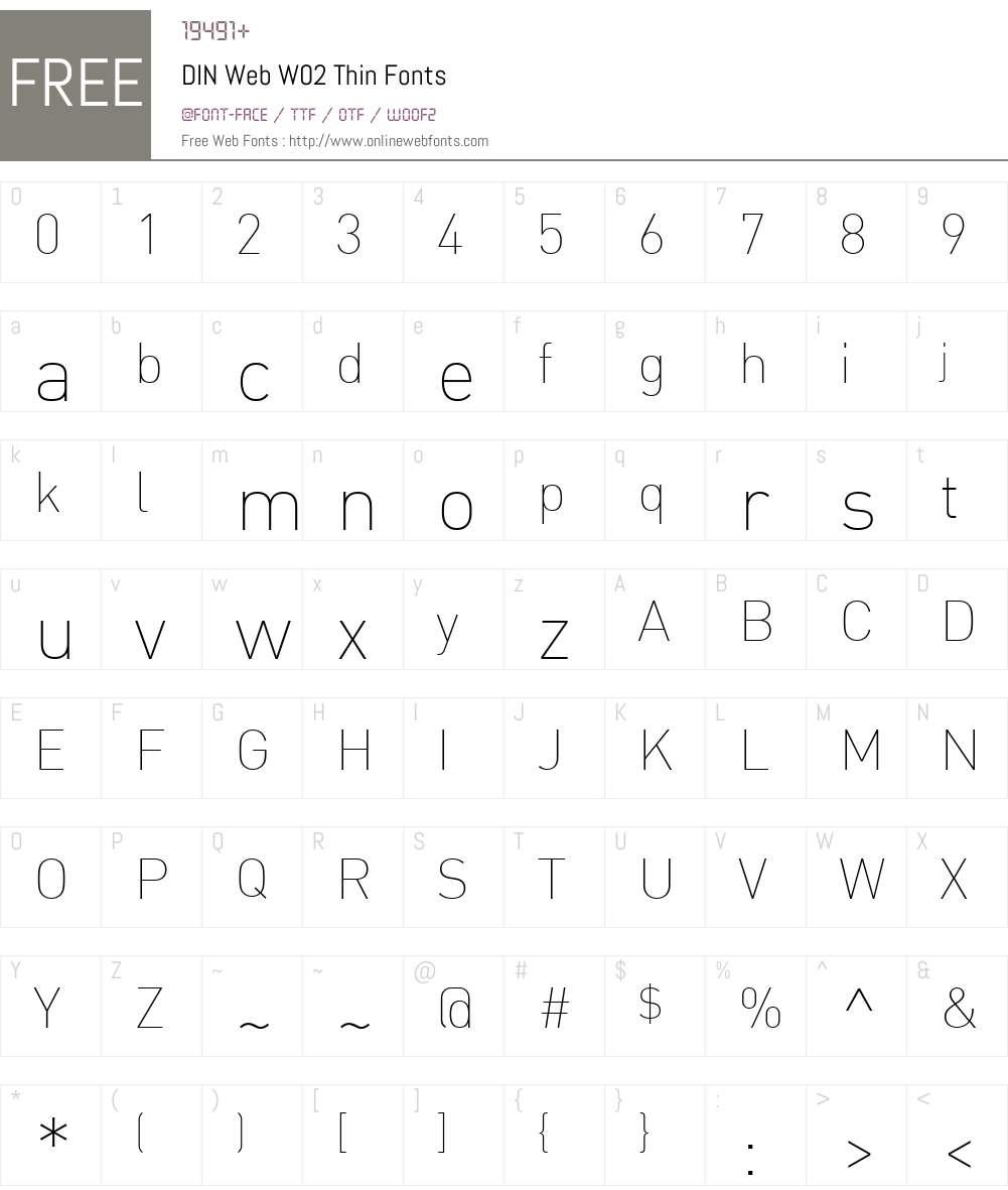 DINWebW02-Thin Font Screenshots
