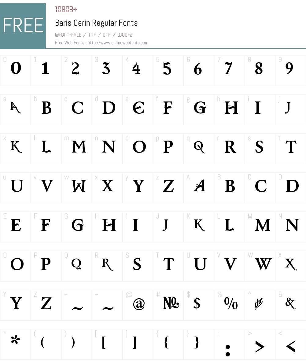 Baris Cerin Regular Font Screenshots