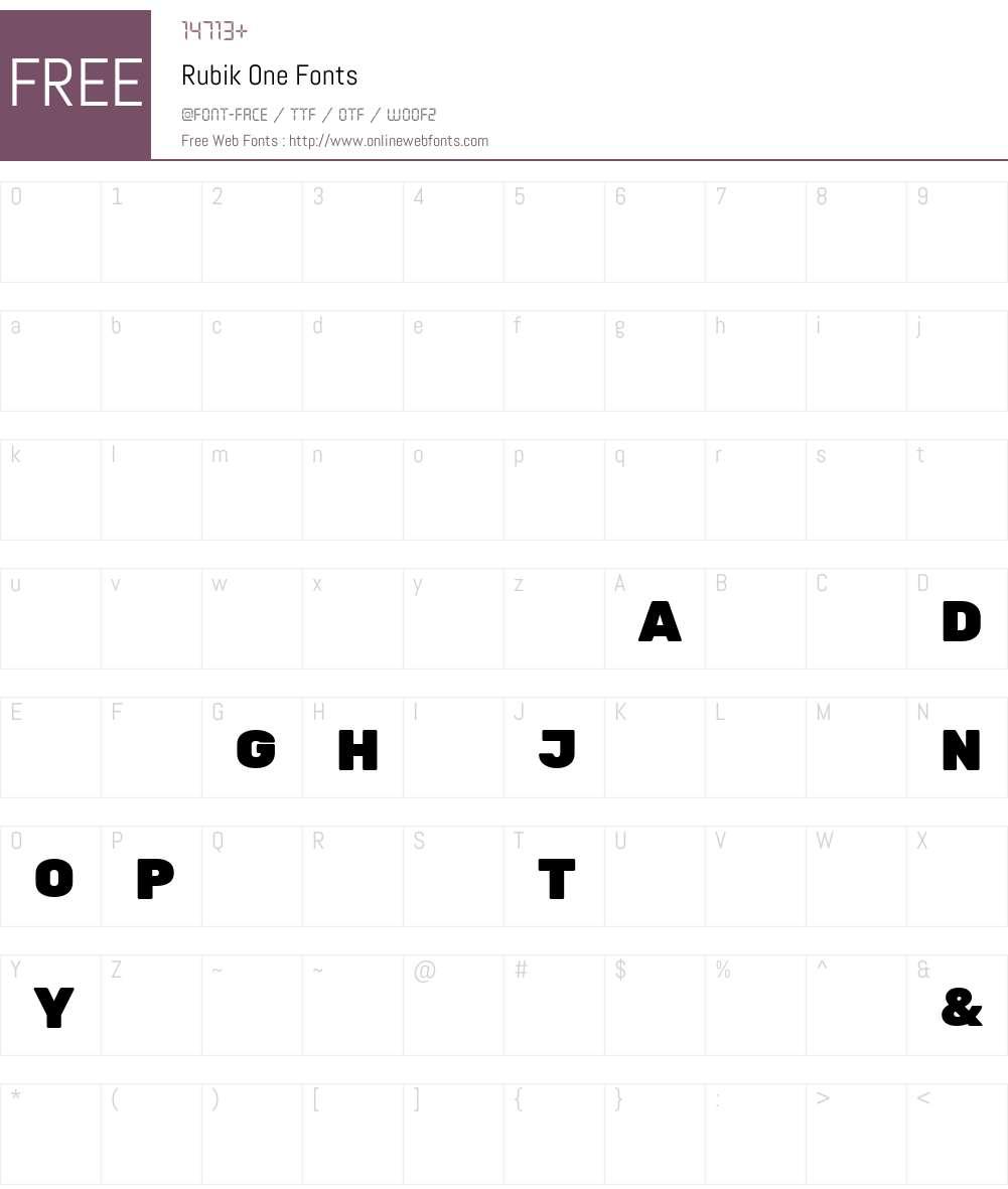 Rubik One Font Screenshots