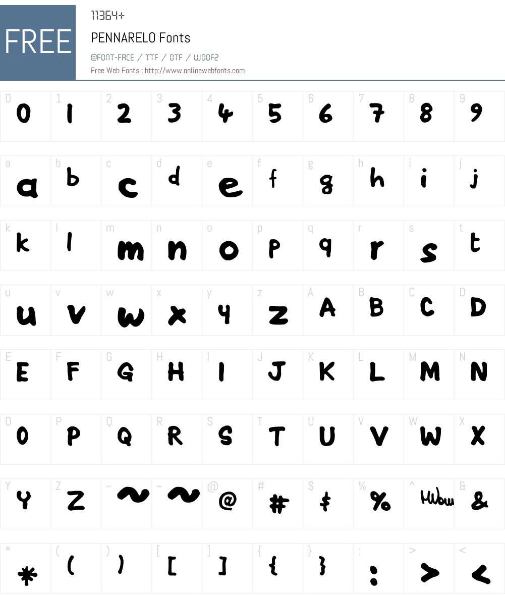 PENNARELO Font Screenshots