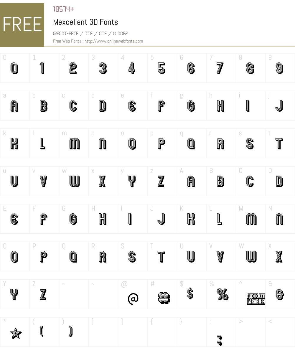 Mexcellent 3D Font Screenshots