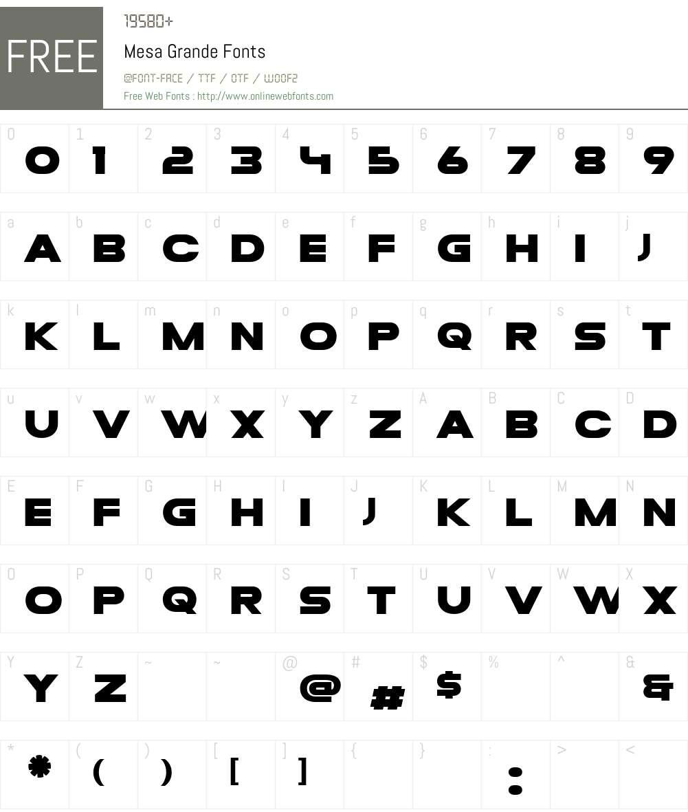 Mesa Grande Font Screenshots