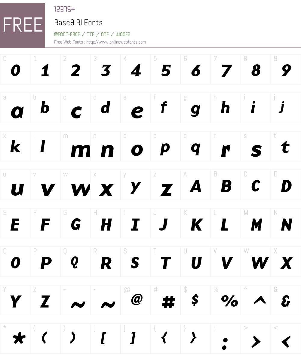 Base9 Font Screenshots