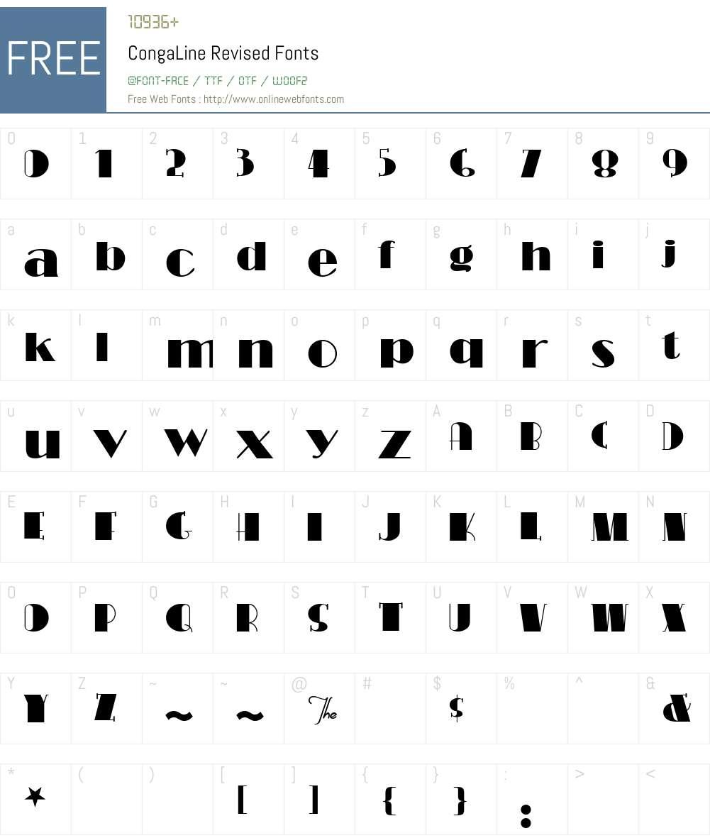 CongaLine Revised Font Screenshots