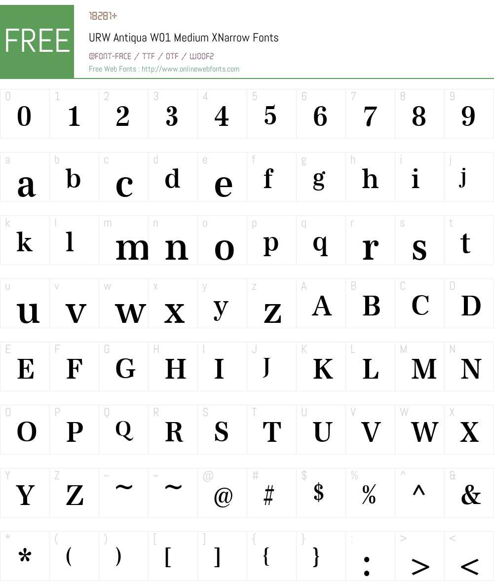 URWAntiquaW01-MediumXNarrow Font Screenshots