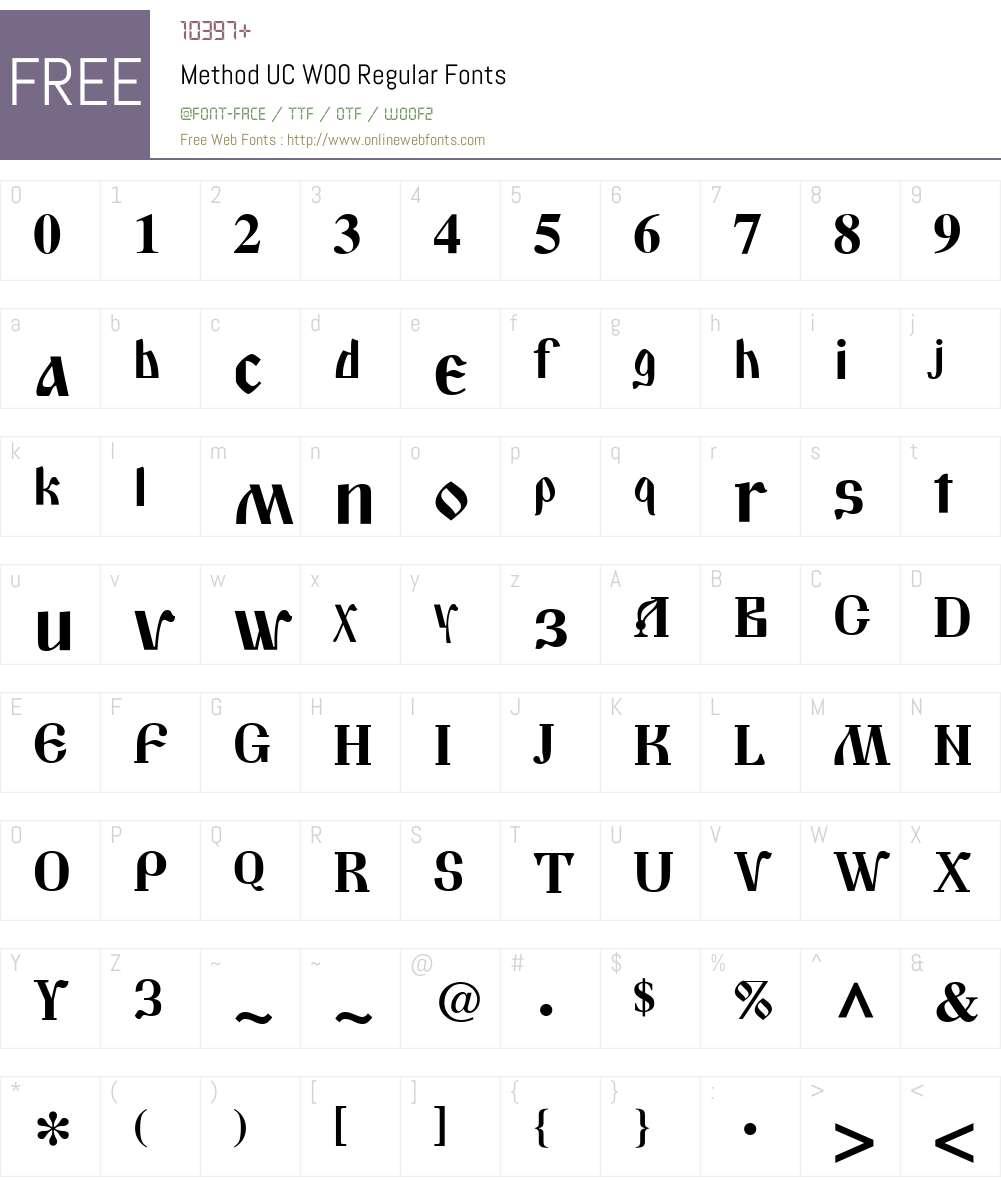 MethodUCW00-Regular Font Screenshots