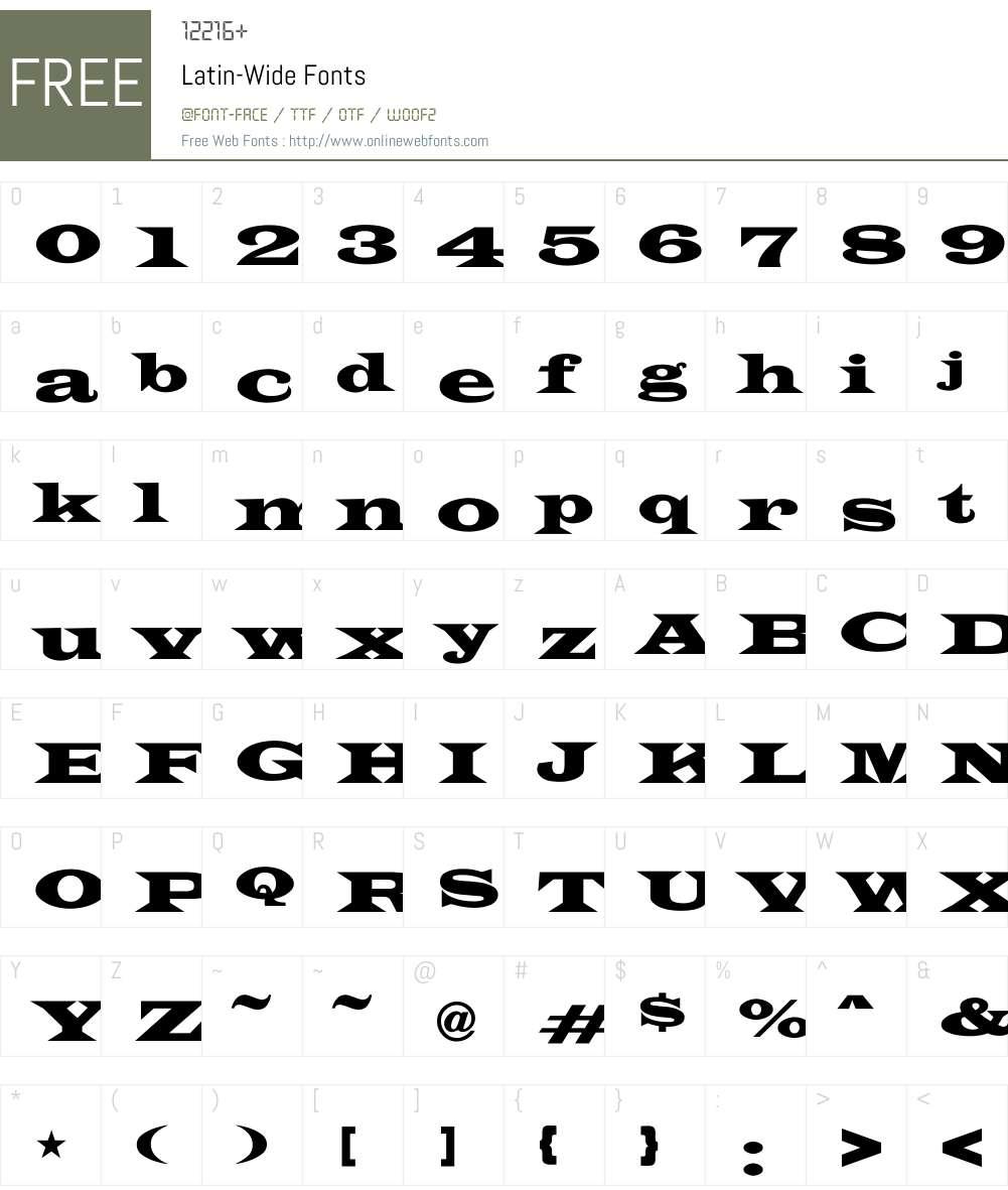 Latin-Wide Font Screenshots