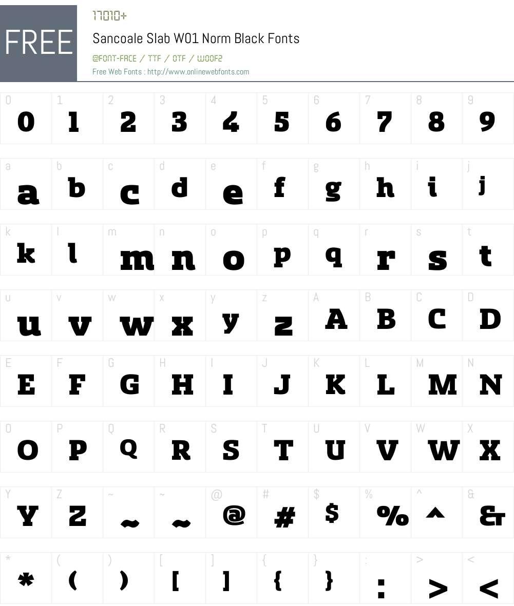 SancoaleSlabW01-NormBlack Font Screenshots