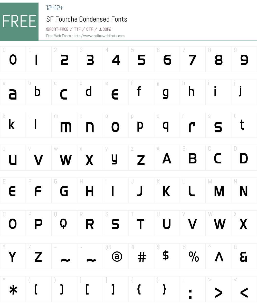 SF Fourche Condensed Font Screenshots