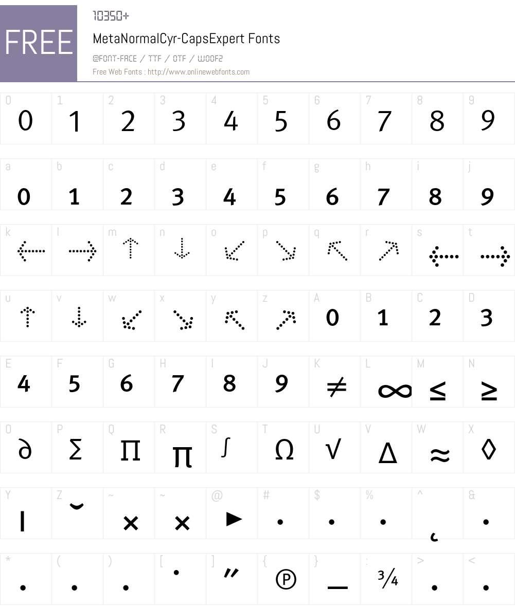 MetaNormalCyr-CapsExpert Font Screenshots