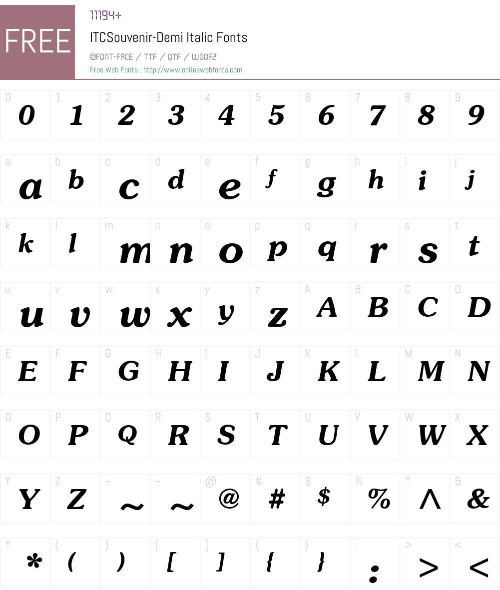 ITCSouvenir-Demi Font Screenshots