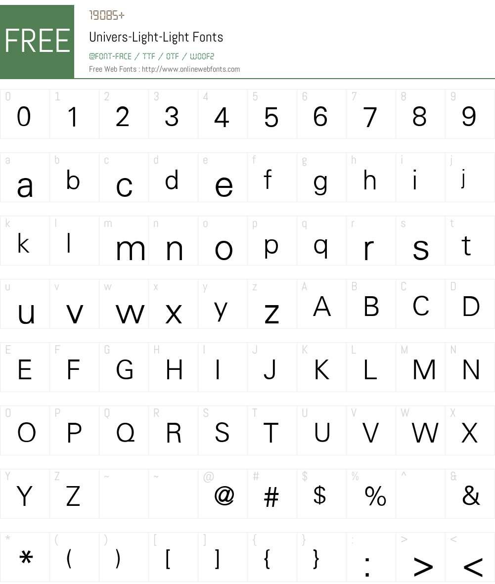 Univers-Light-Light Font Screenshots