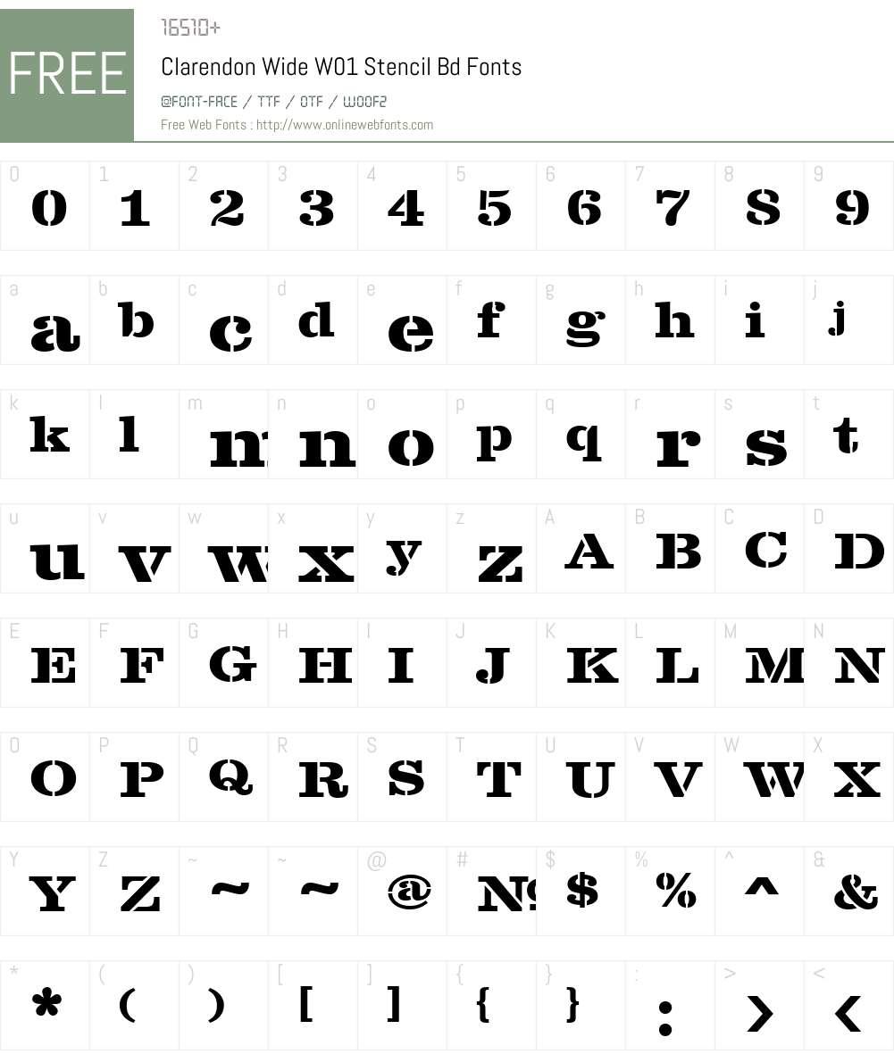 ClarendonWideW01-StencilBd Font Screenshots