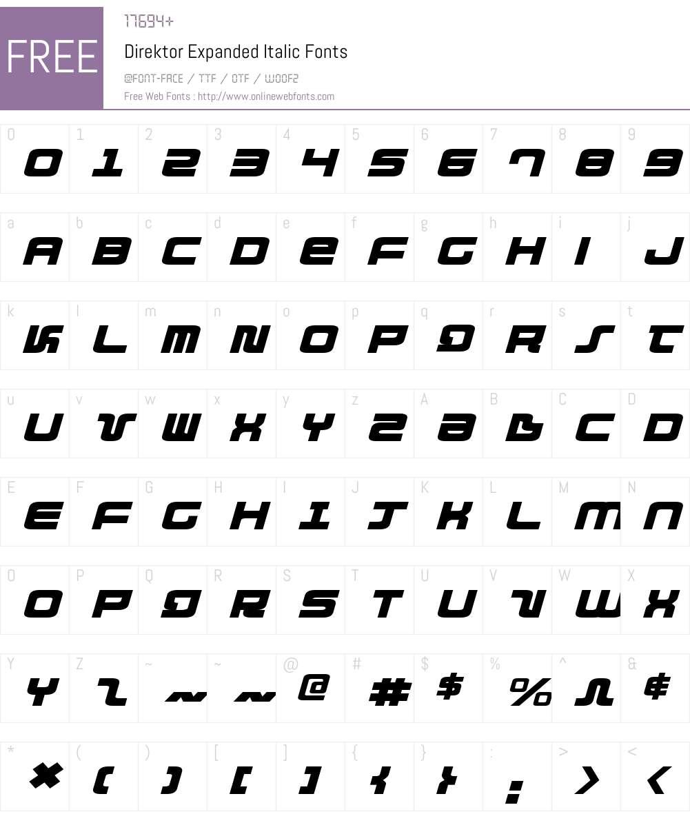 Direktor Expanded Italic Font Screenshots