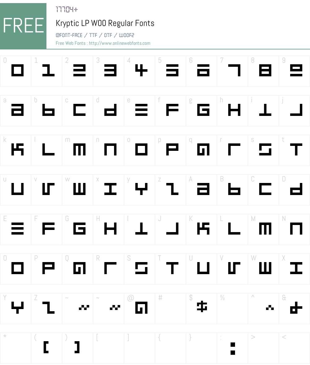 KrypticLPW00-Regular Font Screenshots