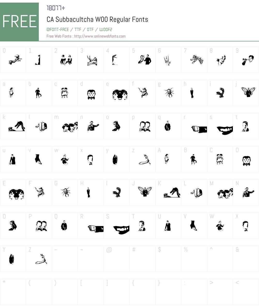 CASubbacultchaW00-Regular Font Screenshots