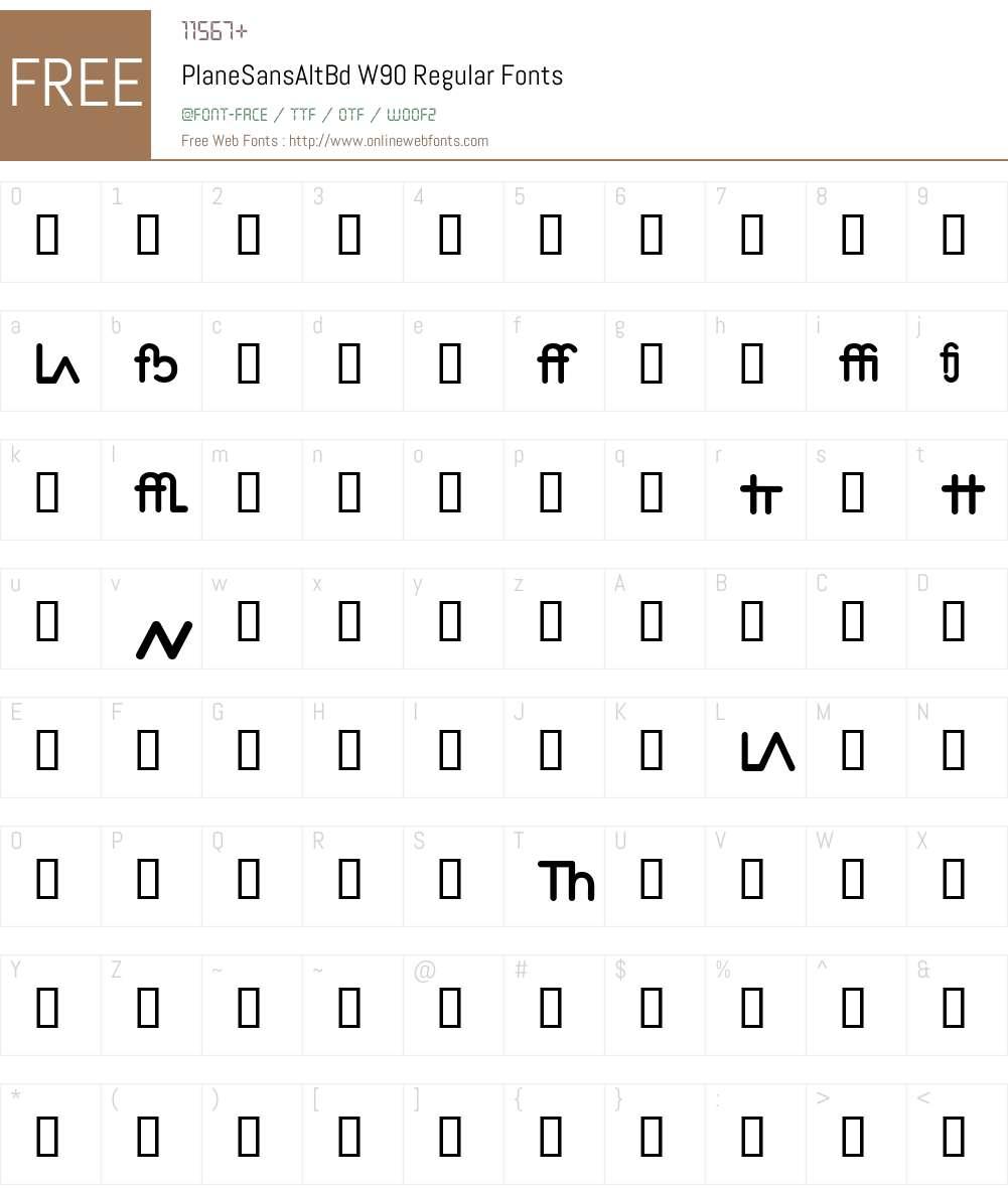 PlaneSansAltBd Font Screenshots