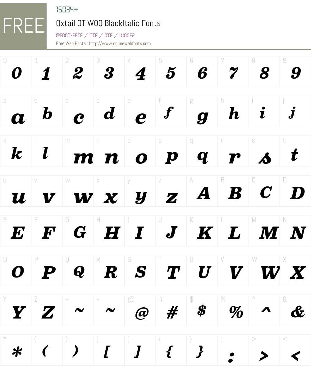 OxtailOTW00-BlackItalic Font Screenshots