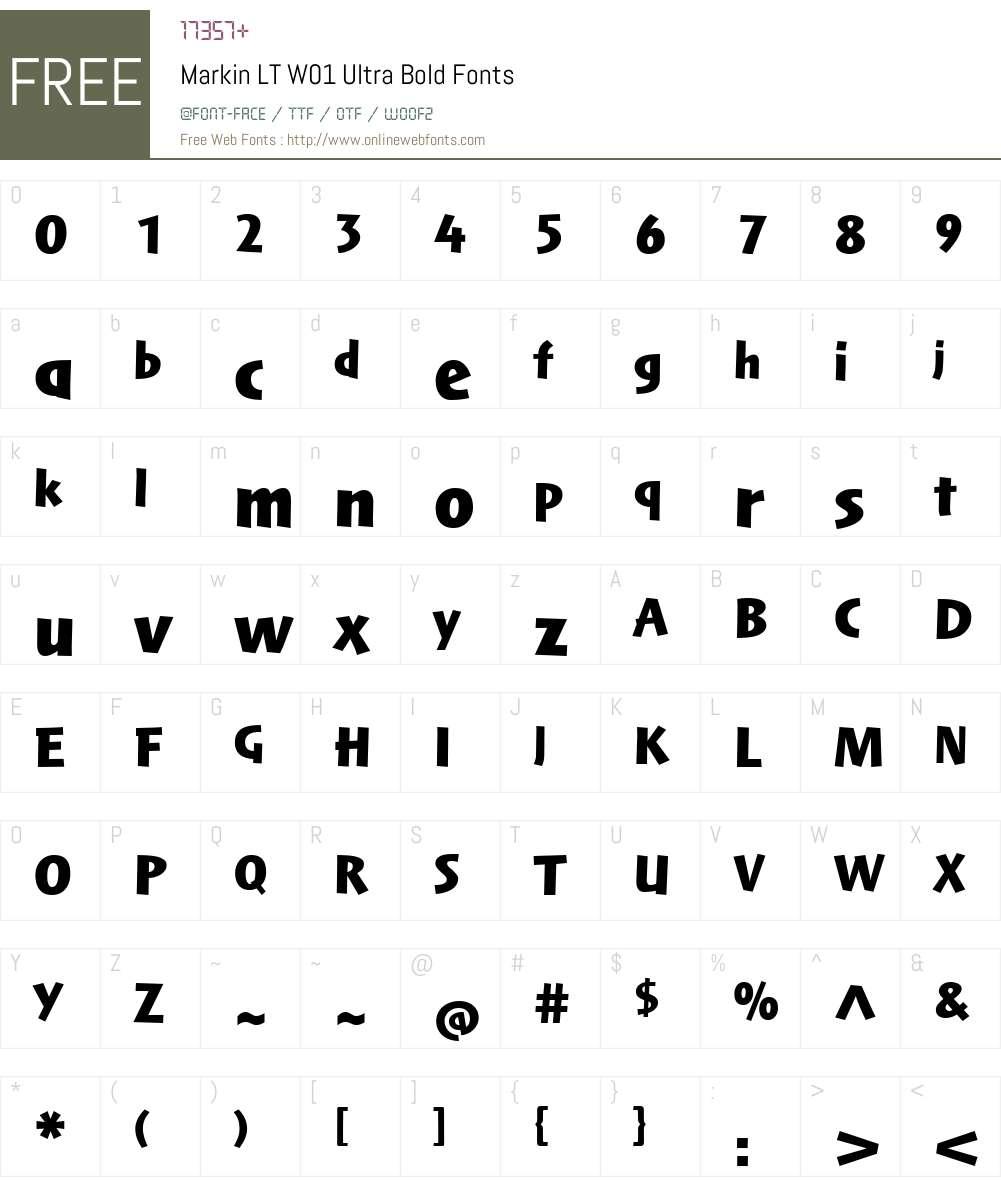 MarkinLTW01-UltraBold Font Screenshots