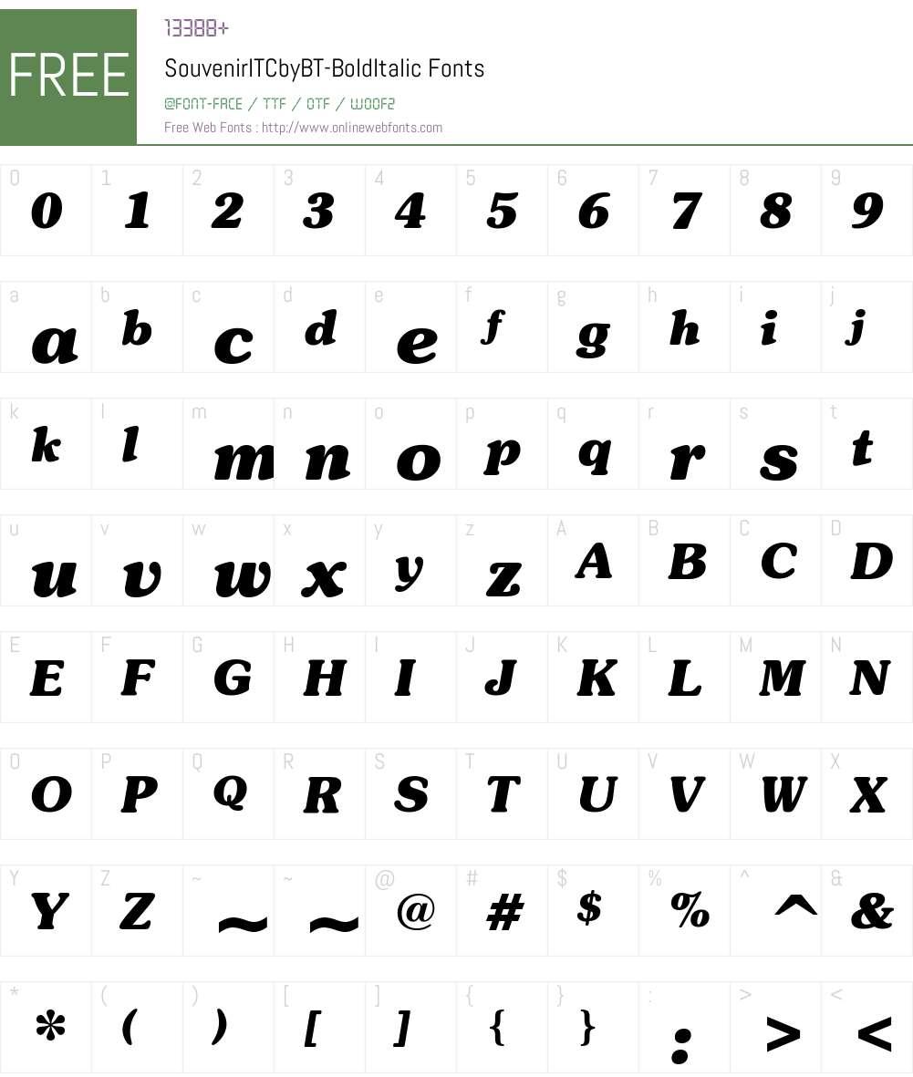 ITC Souvenir Font Screenshots
