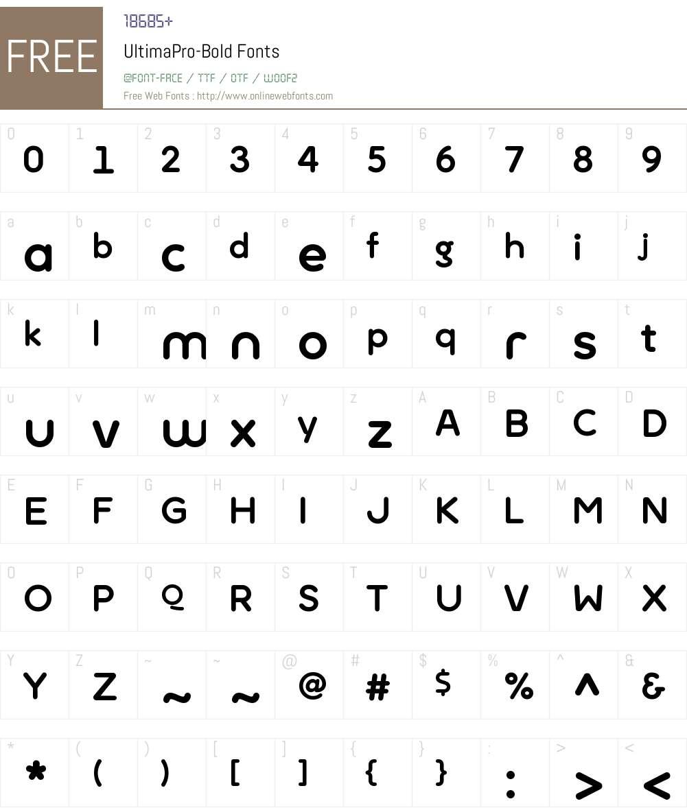 Ultima Pro Font Screenshots