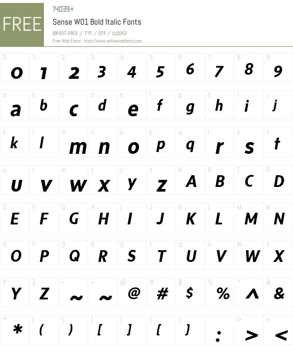 SenseW01-BoldItalic Font Screenshots